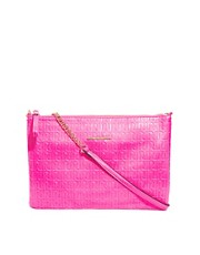 River Island - RI - Pochette rosa fluo con logo in rilievo