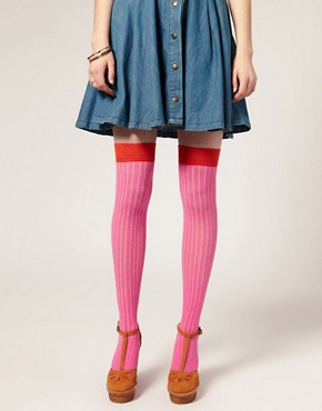 Image 1 ofASOS Over the Knee Two Tone Sock
