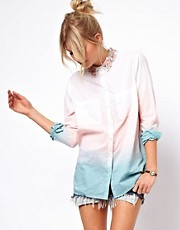 ASOS Shirt With Embellished Collar And Dip Dye