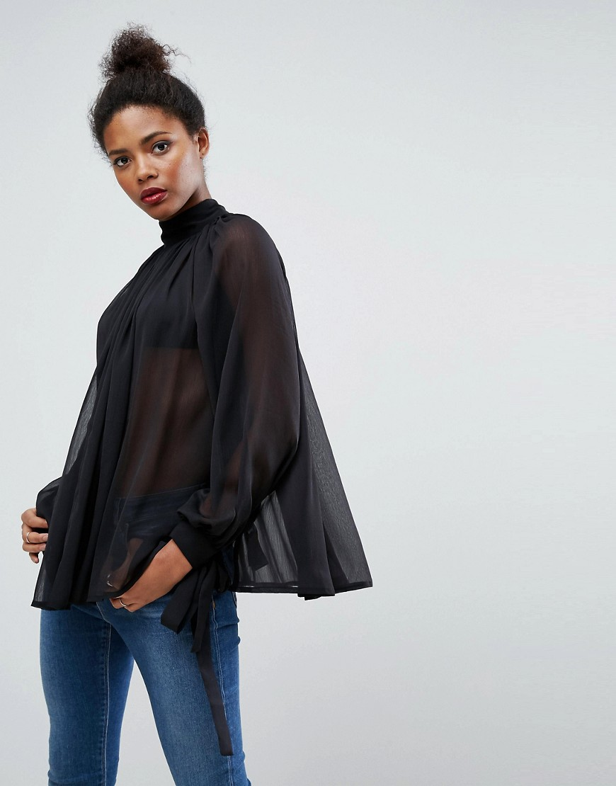 ASOS High Neck Floaty Blouse - Black