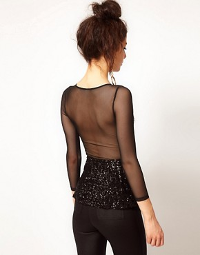 Image 2 ofASOS PETITE Exclusive Sequin And Mesh Peplum Top