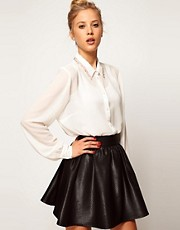 ASOS Blouse With Bugle Beaded Collar