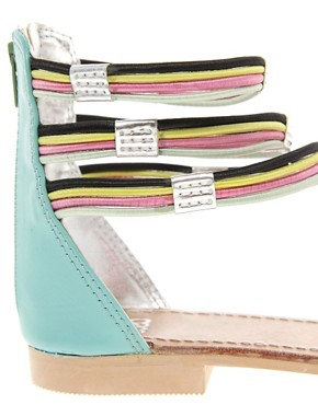 Image 2 ofASOS FIZZ Leather Flat Sandals with Multi Ankle Straps