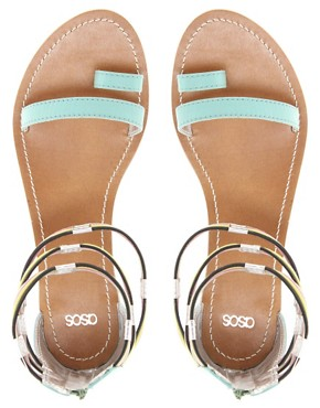 Image 3 ofASOS FIZZ Leather Flat Sandals with Multi Ankle Straps