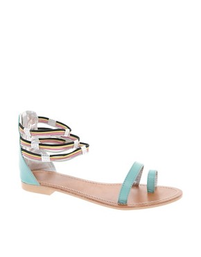 Image 1 ofASOS FIZZ Leather Flat Sandals with Multi Ankle Straps