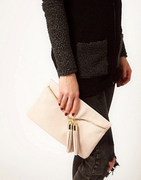 Image 3 ofASOS Clutch Bag With Double Tassel Zip