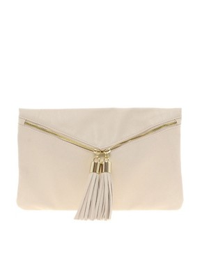 Image 1 ofASOS Clutch Bag With Double Tassel Zip