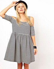 ASOS Smock Dress In Stripe Print With Cold Shoulder