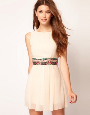 Image 1 ofTFNC Skater Dress with Embellished Waistband