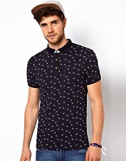 Brave Soul Bird Print Polo Shirt