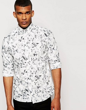 Solid Tailored & Originals Shirt with Monochrome Floral Print