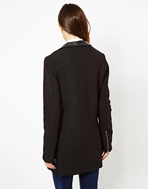Image 2 ofASOS Wool Biker Coat With Leather Collar