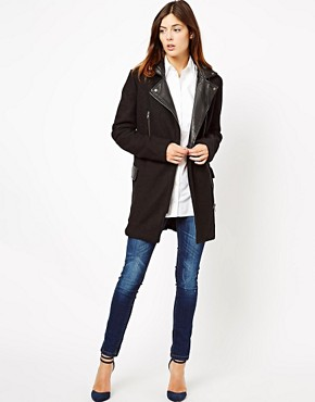 Image 4 ofASOS Wool Biker Coat With Leather Collar
