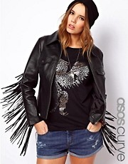ASOS CURVE Leather Jacket With Fringing