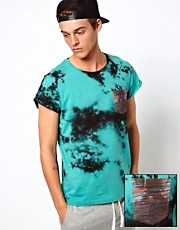 ASOS T-Shirt With Tie Dye Print And Contrast Pocket
