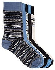 River Island 5 Pack Aztec Fairisle Socks