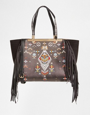 River Island Winged Tote With Tapestry Detail
