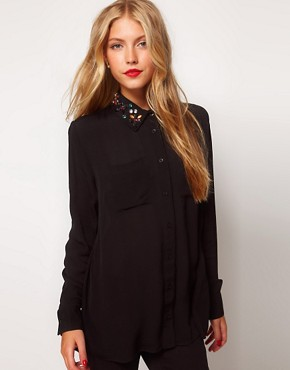 Image 1 ofASOS Shirt With Jewel Embellished Collar
