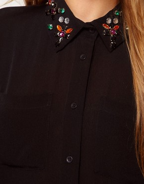 Image 3 ofASOS Shirt With Jewel Embellished Collar