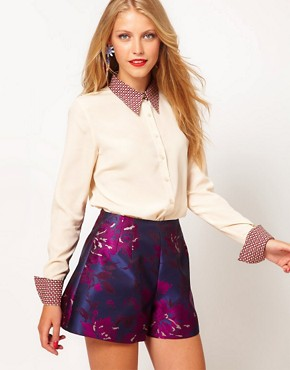 Image 1 ofASOS Shirt With Contrast Printed Collar