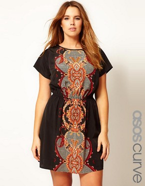Image 1 ofASOS CURVE Exclusive Skater Dress With Baroque Print