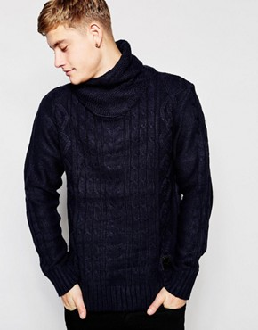 Brave Soul Cable Knit Jumper With Roll Neck