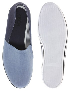 Image 3 ofASOS Canvas Stampdown Plimsolls