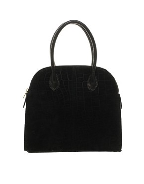 Image 1 ofASOS Suede Croc Embossed Lady Bag