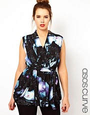 ASOS CURVE Exclusive Wrap Top In Galaxy Print