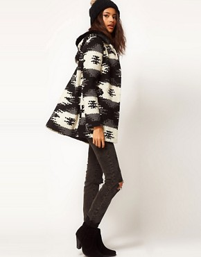 Image 4 ofASOS PETITE Aztec Duffle Coat