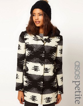 Image 1 ofASOS PETITE Aztec Duffle Coat