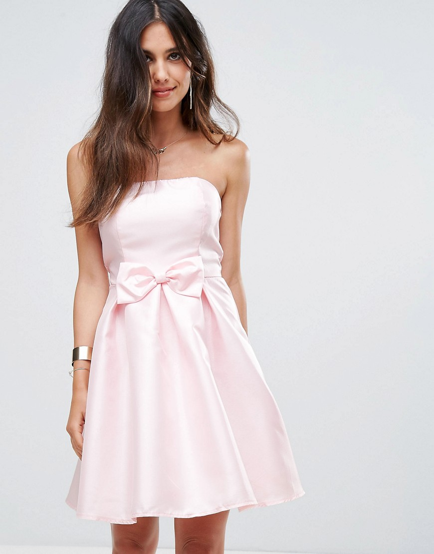 Glamorous Bandeau Prom Dress - Light pink