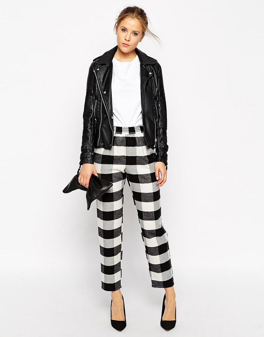 Image 1 of ASOS Fluffy Peg Pants in Gingham Check