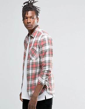 Pull&Bear Brushed Tartan Check Shirt In Red In Regular Fit