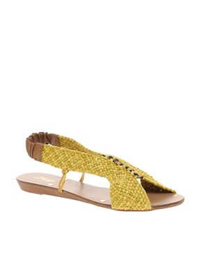 Image 1 ofMango Woven Elastic Back Flat Sandals