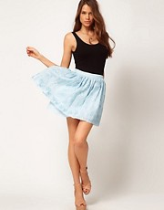 ASOS Embroidered Skater Skirt in Organza