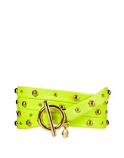 Gorjana Graham Five Wrap Bracelet in Neon Yellow with Studs