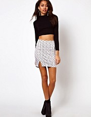 Motel Lipstick Print Skirt