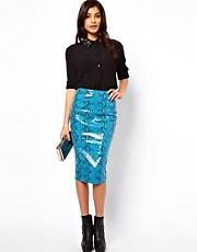 ASOS Leather Pencil Skirt in Snake