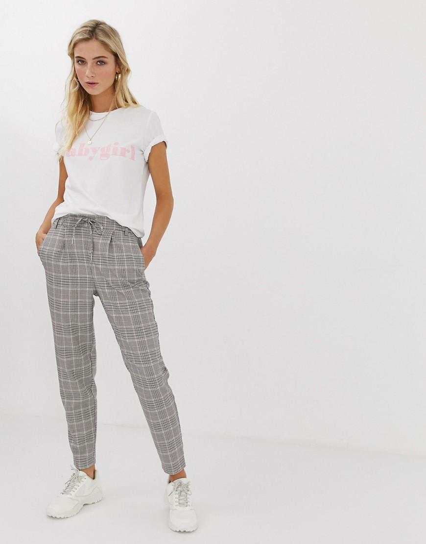 Only - Pantalon à carreaux avec lien à la taille - Multi
