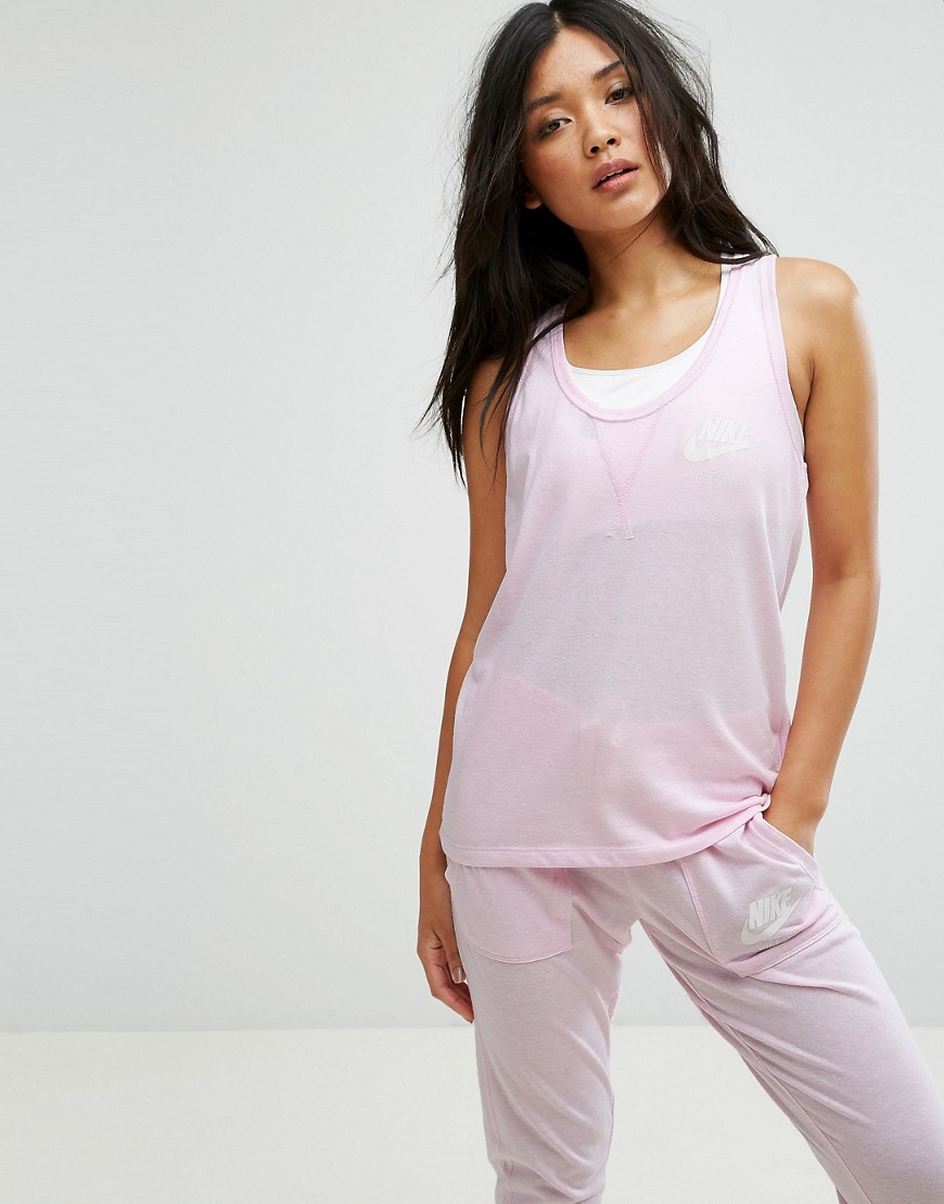 Nike Gym Vintage Tank Top In Pink - Arctic pink