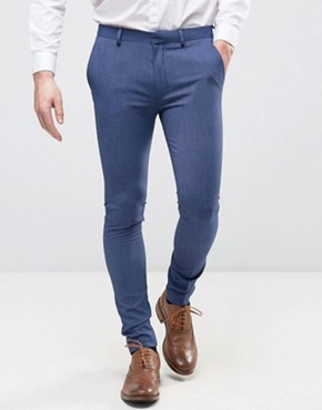 ASOS Super Skinny Suit Trousers In Denim Twist