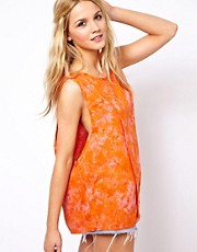 ASOS Vest with Drop Armhole in Tie Dye Print