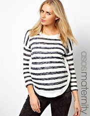 ASOS Maternity Exclusive Stripe Sweater With Button Sides
