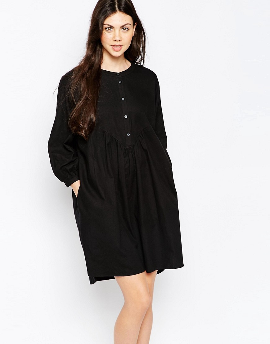 Monki Button Detail Smock Dress - Black