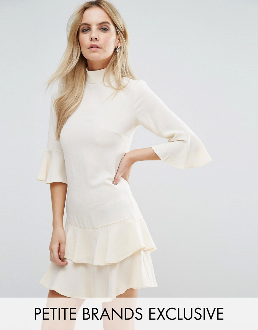 John Zack Petite Smock Dress With Fluted Sleeve - Cream