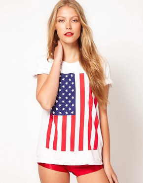 Image 1 ofAmerican Apparel Star And Stripes Flag T-Shirt