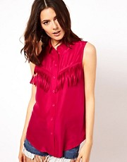 ASOS Sleeveless Shirt In Silk With Fringe Detail