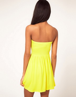 Image 2 ofASOS PETITE Strapless Skater Dress