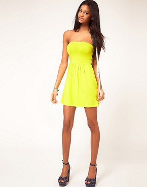 Image 4 ofASOS PETITE Strapless Skater Dress